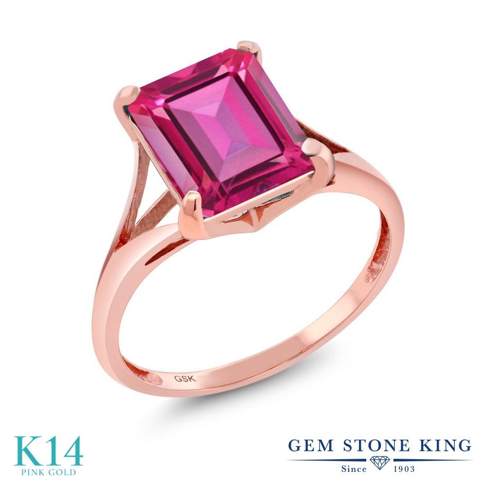 Gem Stone King 4カラット 天然 ミスティックトパーズ (ピュアピンク) 14金 ピンクゴールド(K14) 指輪 リング レディース 大粒 一粒 シンプル ソリティア 天然石 金属アレルギー対応 誕生日プレゼント