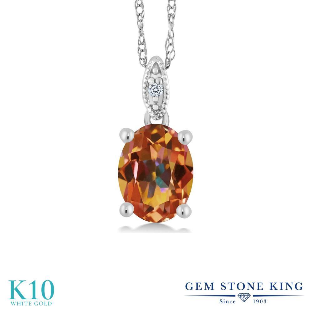 【クーポンで7%OFF】 Gem Stone King 1.8カラット 天然石 エクスタシーミスティックトパーズ 天然 ダイヤモンド 10金 ホワイトゴールド(K10) ネックレス ペンダント レディース 大粒 シンプル プレゼント 女性 彼女 誕生日 クリスマス