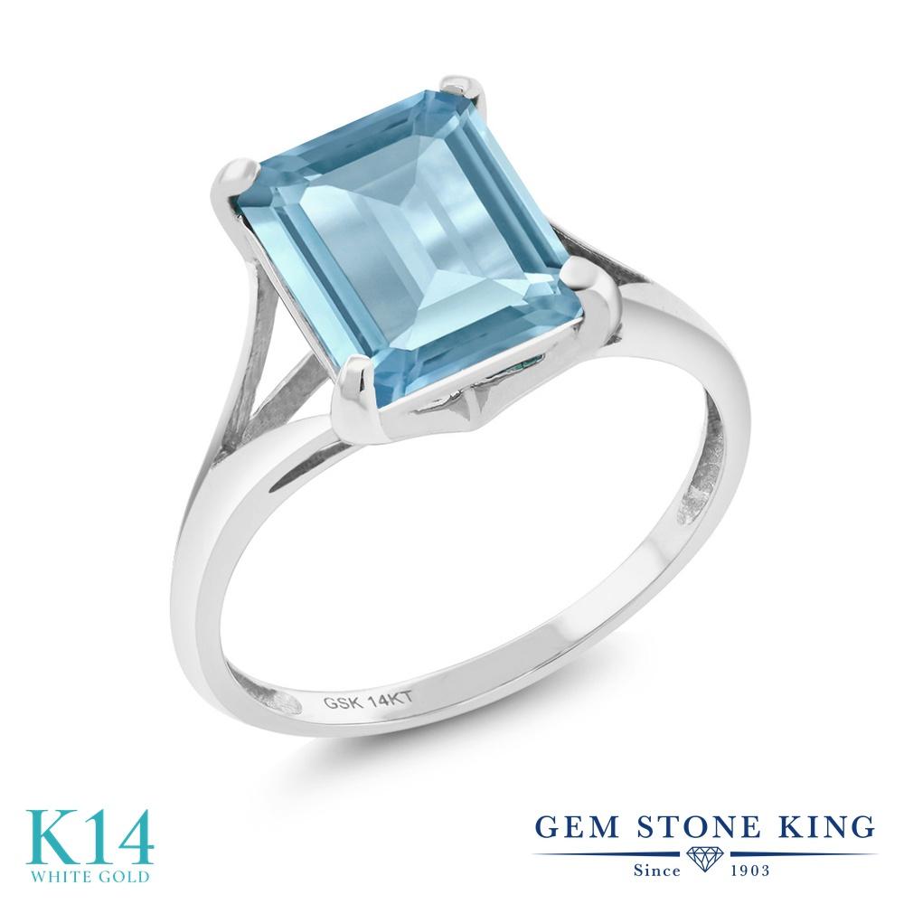 Gem Stone King 4カラット 天然 スカイブルートパーズ 14金 ホワイトゴールド(K14) 指輪 リング レディース 大粒 一粒 シンプル ソリティア 天然石 11月 誕生石 金属アレルギー対応 誕生日プレゼント