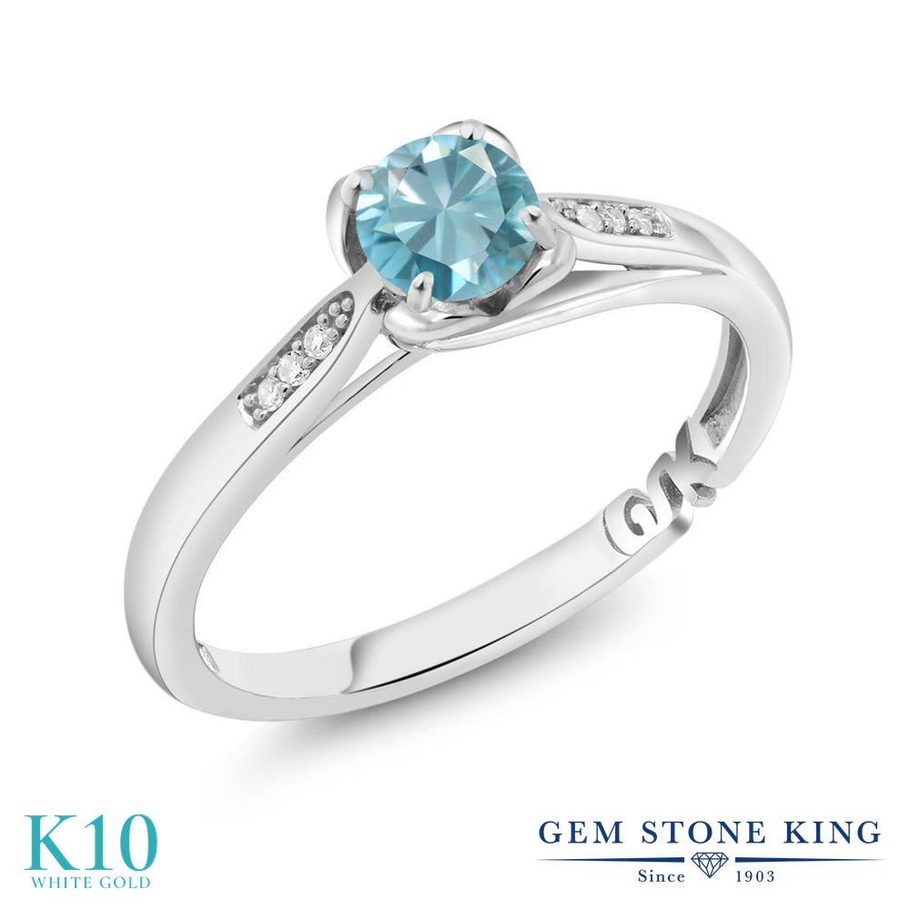 【10%OFF】 Gem Stone King 0.89カラット 天然石 ブルージルコン 天然 ダイヤモンド 指輪 リング レディース 10金 ホワイトゴールド K10 マルチストーン 12月 誕生石 婚約指輪 エンゲージリング