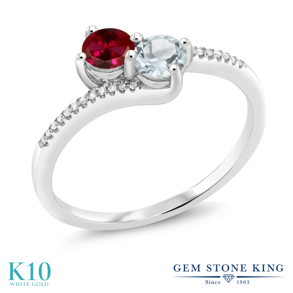 Gem Stone King 0.64カラット 合成ルビー 天然 アクアマリン 天然 ダイヤモンド 10金 ホワイトゴールド(K10) 指輪 リング レディース 小粒 ダブルストーン 金属アレルギー対応 誕生日プレゼント