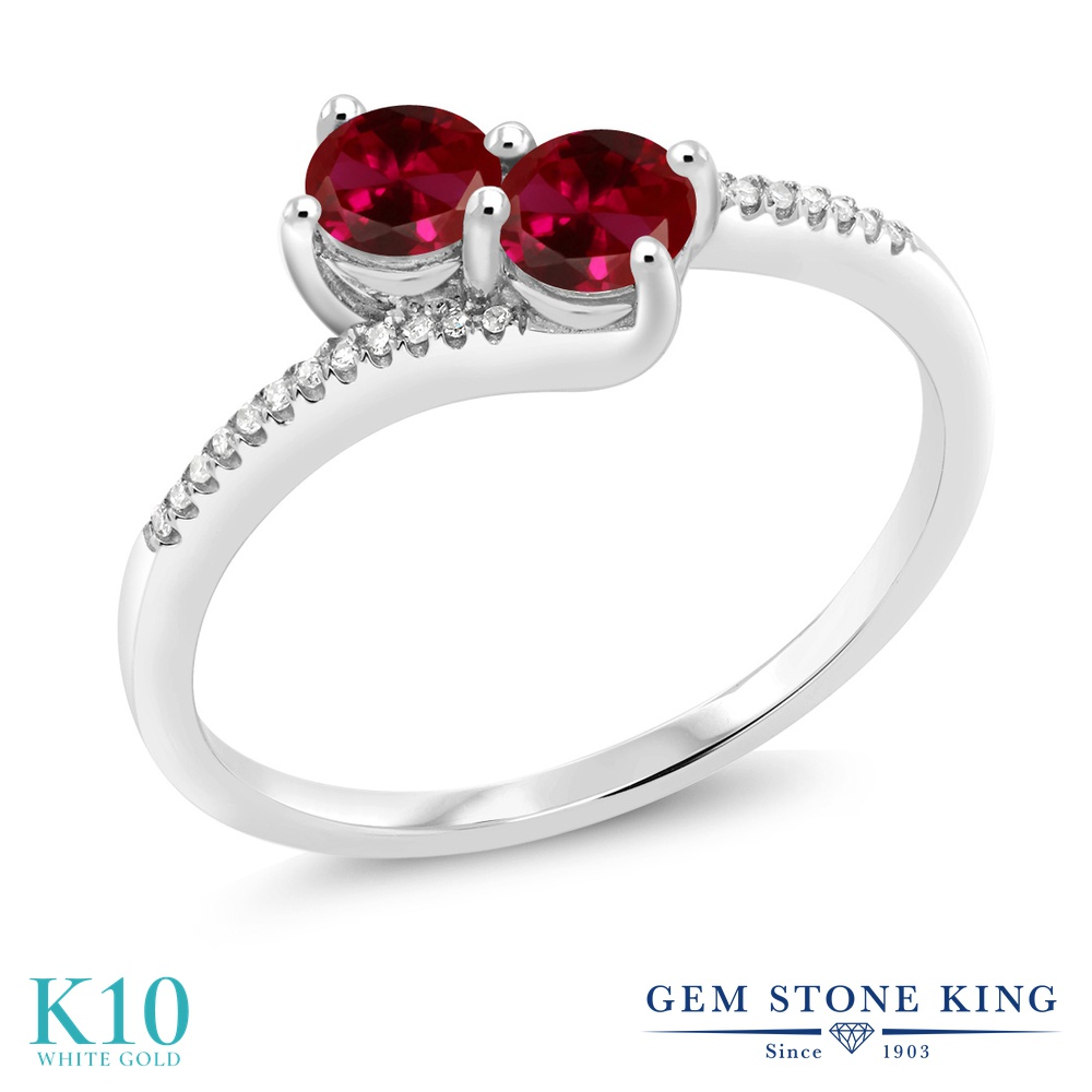Gem Stone King 0.67カラット 合成ルビー 天然 ダイヤモンド 10金 ホワイトゴールド(K10) 指輪 リング レディース 小粒 ダブルストーン 金属アレルギー対応 誕生日プレゼント
