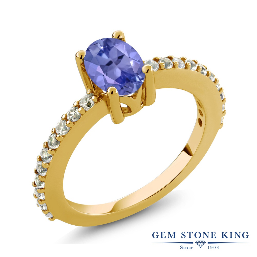 Gem Stone King 1.05カラット 合成ホワイトサファイア (ダイヤのような無色透明) シルバー925 イエローゴールドコーティング 指輪 リング レディース マルチストーン 天然石 金属アレルギー対応 誕生日プレゼント