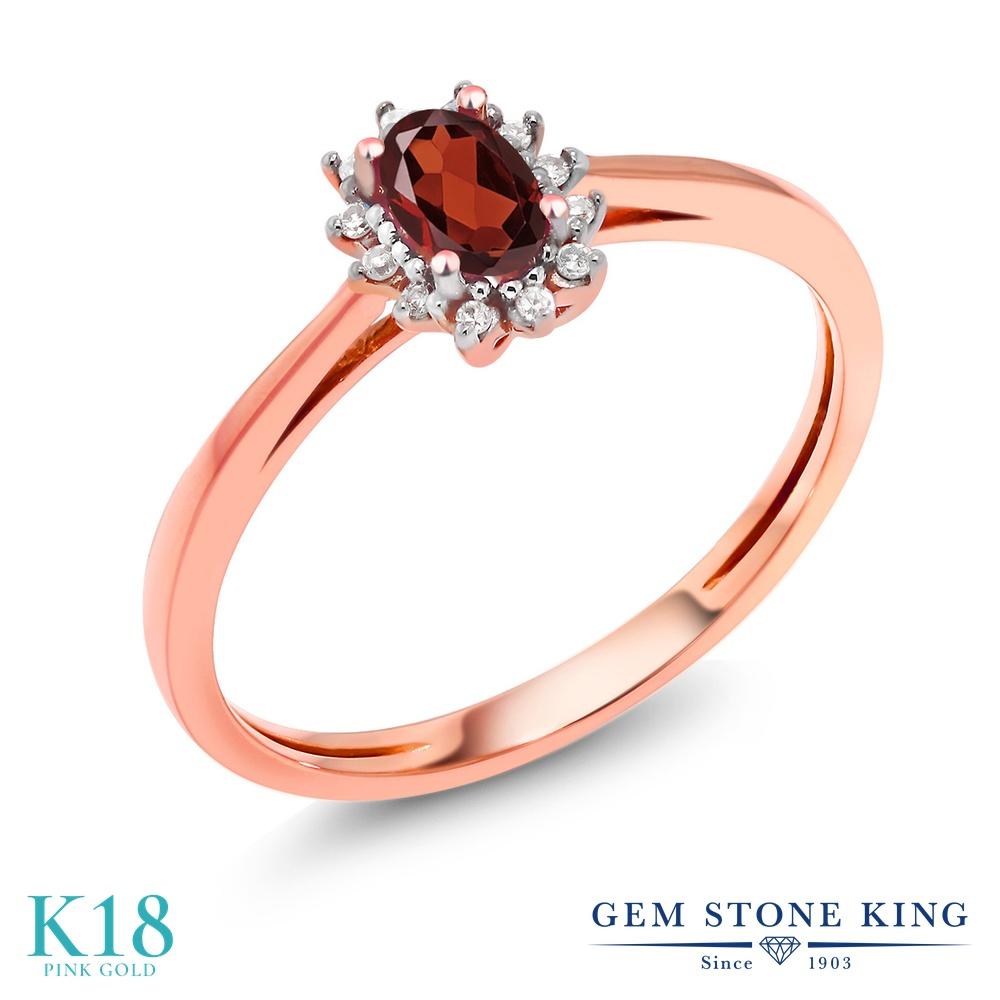 Gem Stone King 0.38カラット 天然 ガーネット 天然 ダイヤモンド 18金 ピンクゴールド(K18) 指輪 リング レディース 小粒 ヘイロー 天然石 1月 誕生石 金属アレルギー対応 婚約指輪 エンゲージリング
