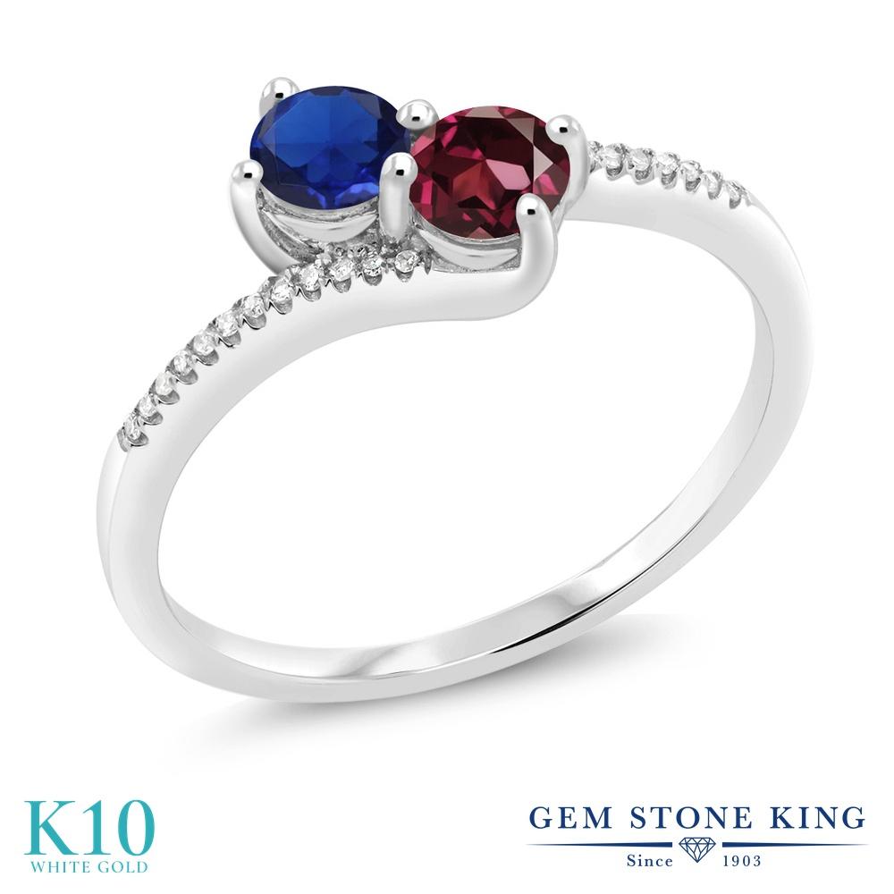 【10%OFF】 Gem Stone King 0.79カラット シミュレイテッド サファイア 天然 ロードライトガーネット ダイヤモンド 指輪 リング レディース 10金 ホワイトゴールド K10 小粒 ダブルストーン クリスマスプレゼント 女性 彼女 妻 誕生日