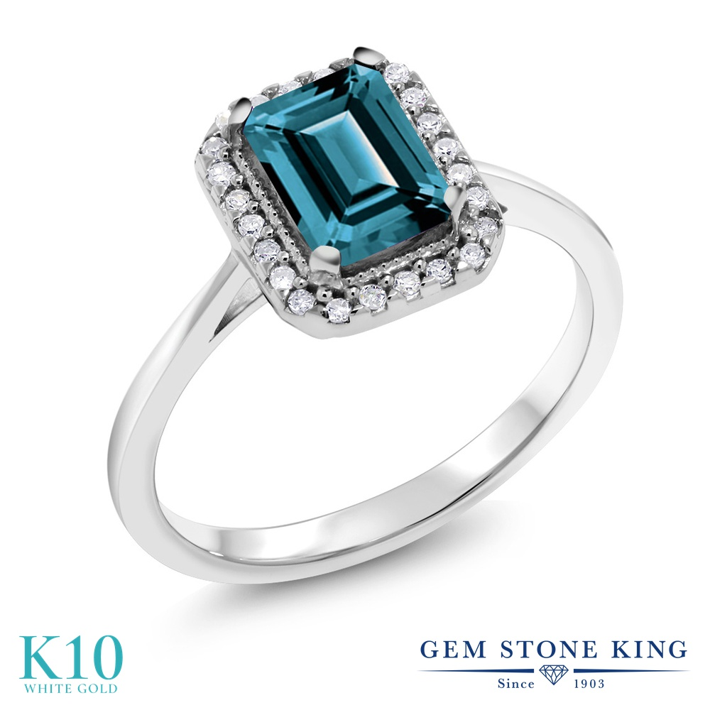 Gem Stone King 1.31カラット 天然 ロンドンブルートパーズ 天然 ダイヤモンド 10金 ホワイトゴールド(K10) 指輪 リング レディース 大粒 ヘイロー 天然石 11月 誕生石 金属アレルギー対応 誕生日プレゼント
