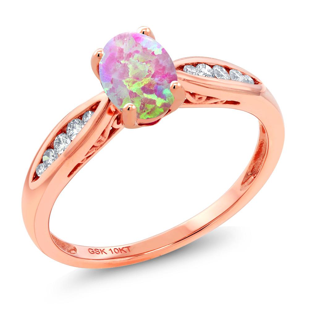 Gem Stone King 0.7カラット シミュレイテッド ピンクオパール 天然 ダイヤモンド 10金 ピンクゴールド(K10) 指輪 リング レディース マルチストーン 10月 誕生石 金属アレルギー対応 婚約指輪 エンゲージリング