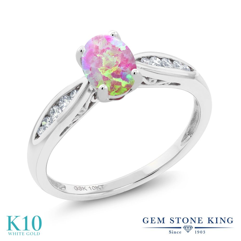 Gem Stone King 0.7カラット シミュレイテッド ピンクオパール 天然 ダイヤモンド 10金 ホワイトゴールド(K10) 指輪 リング レディース マルチストーン 10月 誕生石 金属アレルギー対応 婚約指輪 エンゲージリング