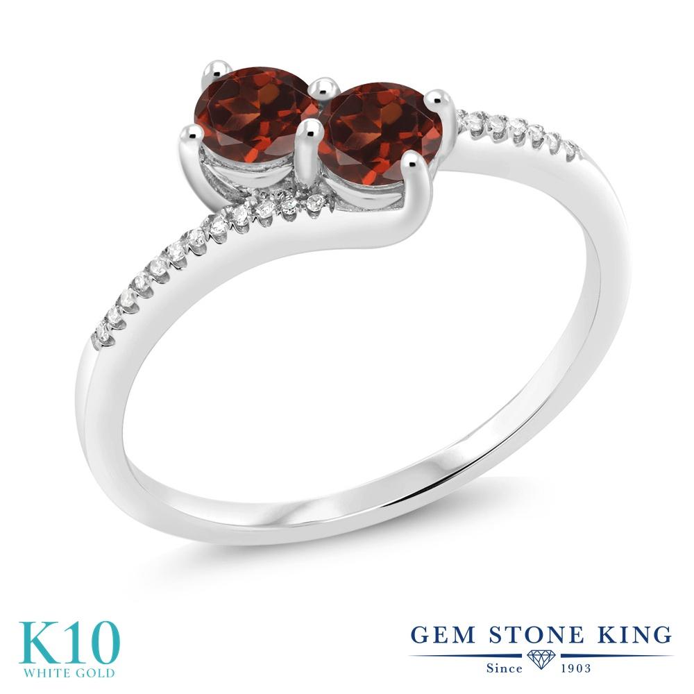 【10%OFF】 Gem Stone King 0.91カラット 天然 ガーネット ダイヤモンド 指輪 リング レディース 10金 ホワイトゴールド K10 小粒 ダブルストーン 天然石 1月 誕生石 クリスマスプレゼント 女性 彼女 妻 誕生日