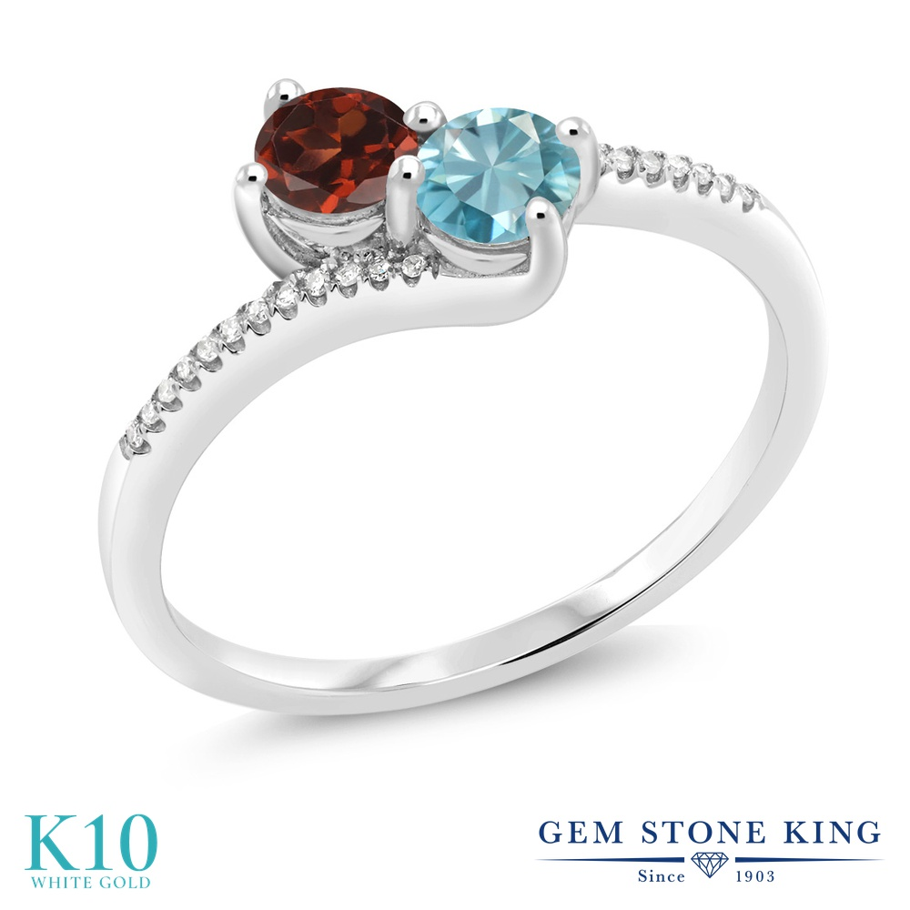 Gem Stone King 1.04カラット 天然 ガーネット 天然石 ブルージルコン 天然 ダイヤモンド 10金 ホワイトゴールド(K10) 指輪 リング レディース 小粒 ダブルストーン 天然石 1月 誕生石 金属アレルギー対応 誕生日プレゼント