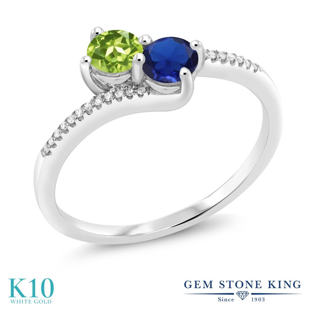 Gem Stone King 0.72カラット 天然石 ペリドット シミュレイテッド サファイア 天然 ダイヤモンド 10金 ホワイトゴールド(K10) 指輪 リング レディース 小粒 ダブルストーン 天然石 8月 誕生石 金属アレルギー対応 誕生日プレゼント