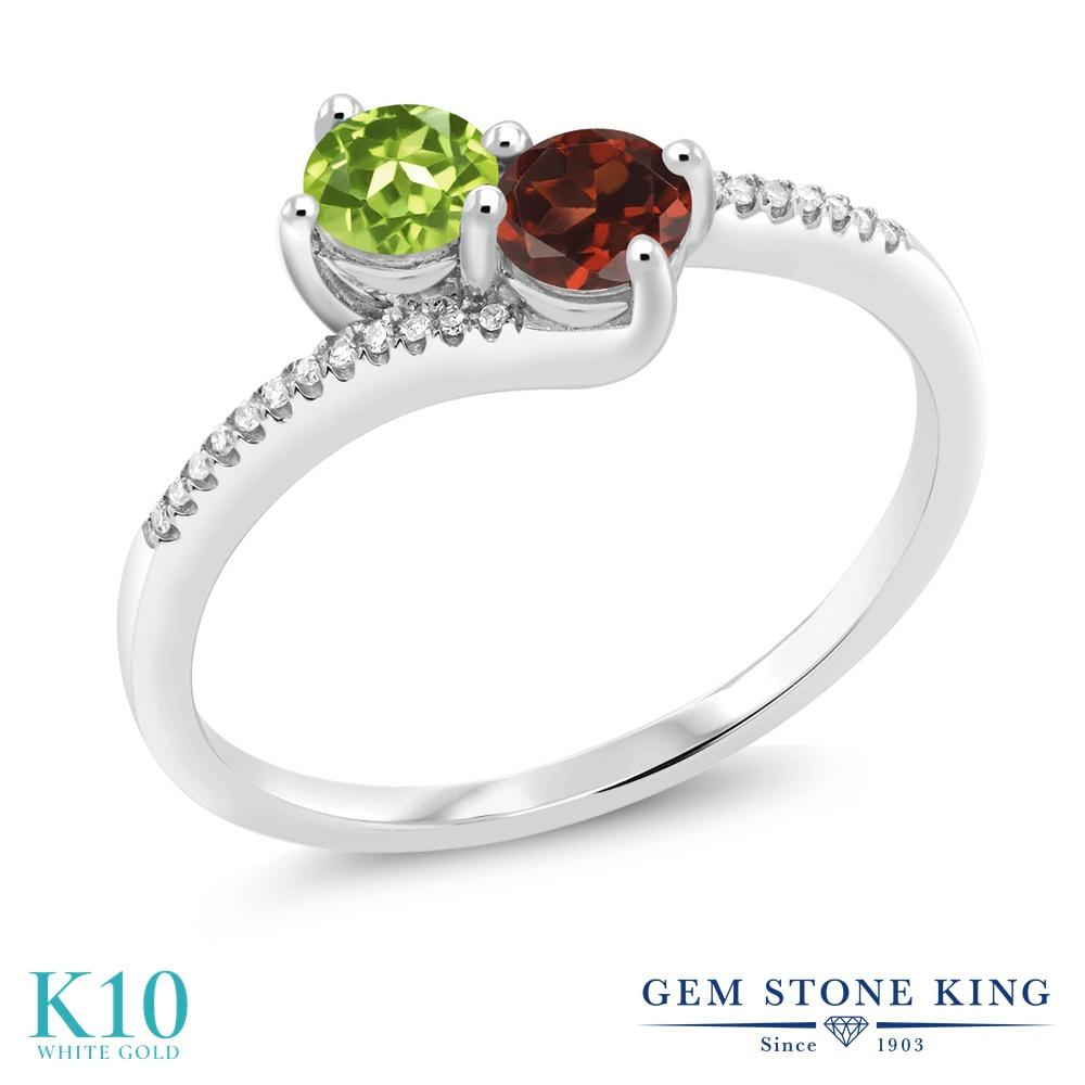【10%OFF】 Gem Stone King 0.84カラット 天然石 ペリドット 天然 ガーネット ダイヤモンド 指輪 リング レディース 10金 ホワイトゴールド K10 小粒 ダブルストーン 8月 誕生石 クリスマスプレゼント 女性 彼女 妻 誕生日