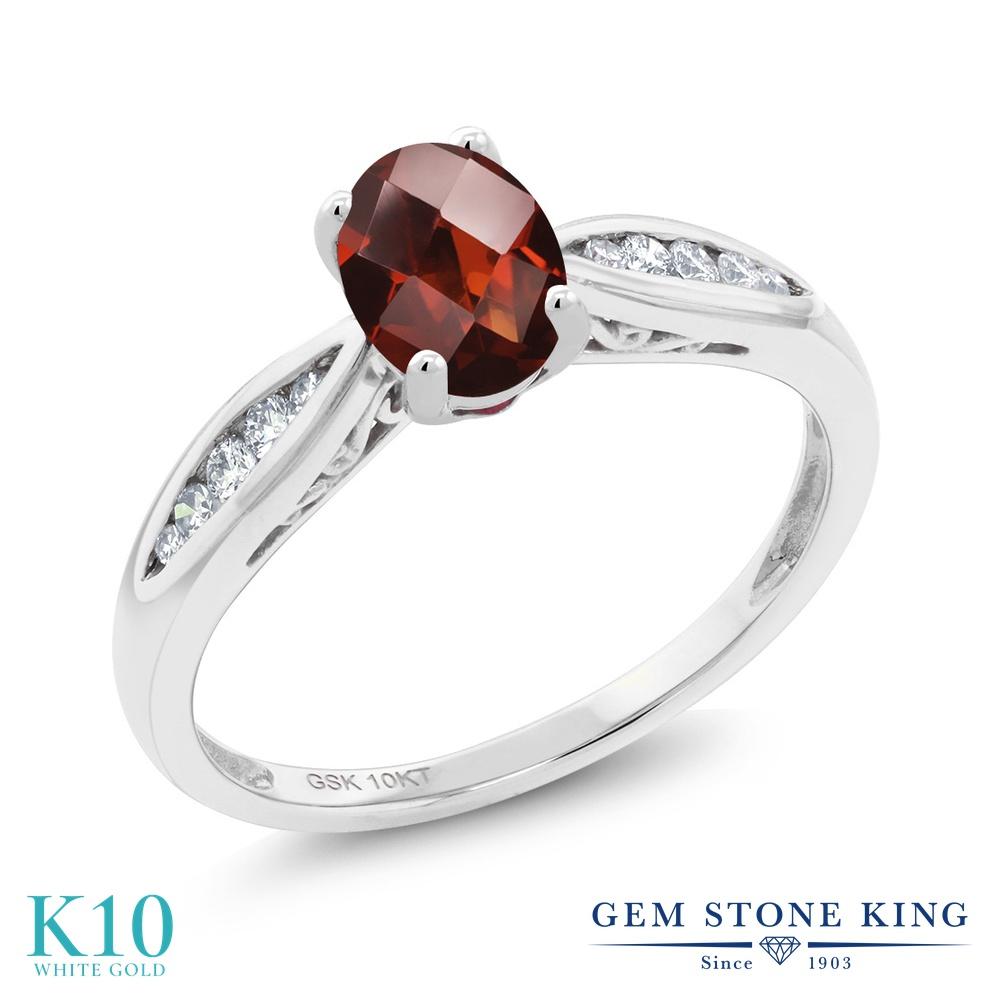 Gem Stone King 0.87カラット 天然 ガーネット 天然 ダイヤモンド 10金 ホワイトゴールド(K10) 指輪 リング レディース マルチストーン 天然石 1月 誕生石 金属アレルギー対応 婚約指輪 エンゲージリング