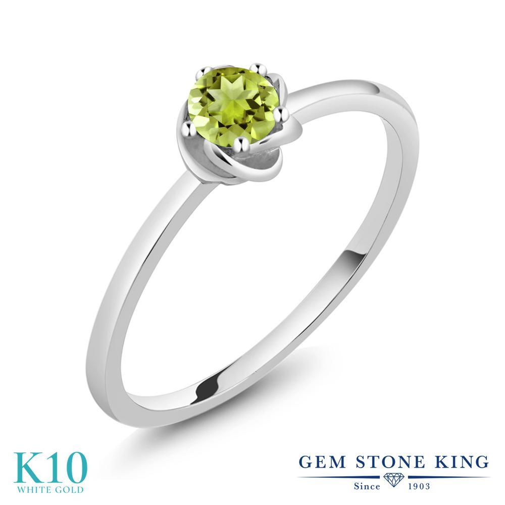Gem Stone King 0.21カラット 天然石 ペリドット 10金 ホワイトゴールド(K10) 指輪 リング レディース 小粒 一粒 シンプル ソリティア 華奢 細身 天然石 8月 誕生石 金属アレルギー対応 誕生日プレゼント