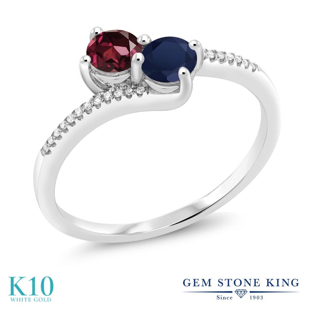 Gem Stone King 0.9カラット 天然 ロードライトガーネット 天然 サファイア 天然 ダイヤモンド 10金 ホワイトゴールド(K10) 指輪 リング レディース 小粒 ダブルストーン 天然石 金属アレルギー対応 誕生日プレゼント