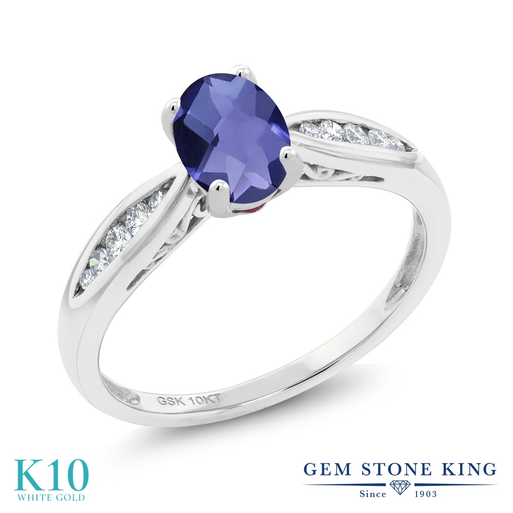 Gem Stone King 0.72カラット 天然 アイオライト (ブルー) 天然 ダイヤモンド 10金 ホワイトゴールド(K10) 指輪 リング レディース マルチストーン 天然石 金属アレルギー対応 婚約指輪 エンゲージリング