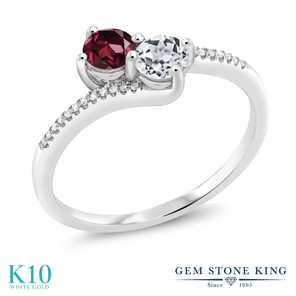Gem Stone King 0.87カラット 天然 ロードライトガーネット 天然 トパーズ (無色透明) 天然 ダイヤモンド 10金 ホワイトゴールド(K10) 指輪 リング レディース 小粒 ダブルストーン 天然石 金属アレルギー対応 誕生日プレゼント