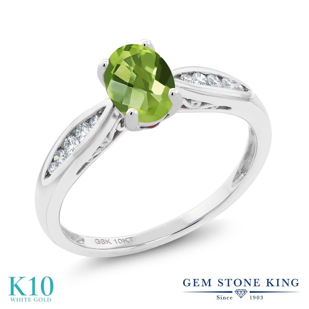 Gem Stone King 0.92カラット 天然石 ペリドット 天然 ダイヤモンド 10金 ホワイトゴールド(K10) 指輪 リング レディース マルチストーン 天然石 8月 誕生石 金属アレルギー対応 婚約指輪 エンゲージリング