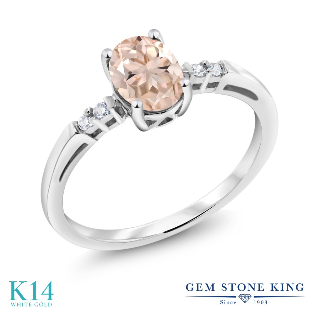 Gem Stone King 0.68カラット 天然 モルガナイト (ピーチ) 天然 ダイヤモンド 14金 ホワイトゴールド(K14) 指輪 リング レディース ソリティア 天然石 3月 誕生石 金属アレルギー対応 誕生日プレゼント
