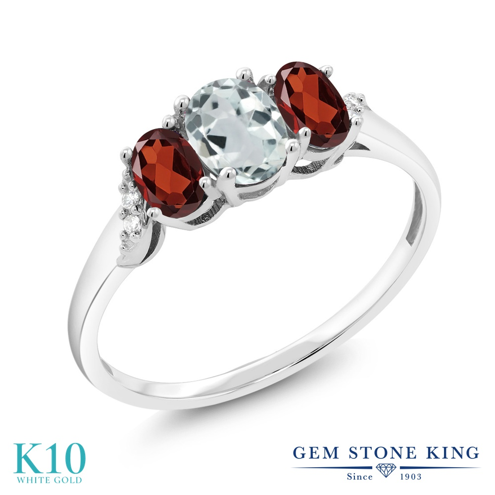 Gem Stone King 1.06カラット 天然 アクアマリン 天然 ガーネット 天然 ダイヤモンド 10金 ホワイトゴールド(K10) 指輪 リング レディース 小粒 スリーストーン 天然石 3月 誕生石 金属アレルギー対応 誕生日プレゼント