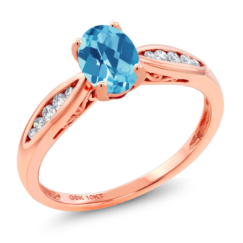 Gem Stone King 1.02カラット 天然 スイスブルートパーズ 天然 ダイヤモンド 10金 ピンクゴールド(K10) 指輪 リング レディース マルチストーン 天然石 11月 誕生石 金属アレルギー対応 婚約指輪 エンゲージリング
