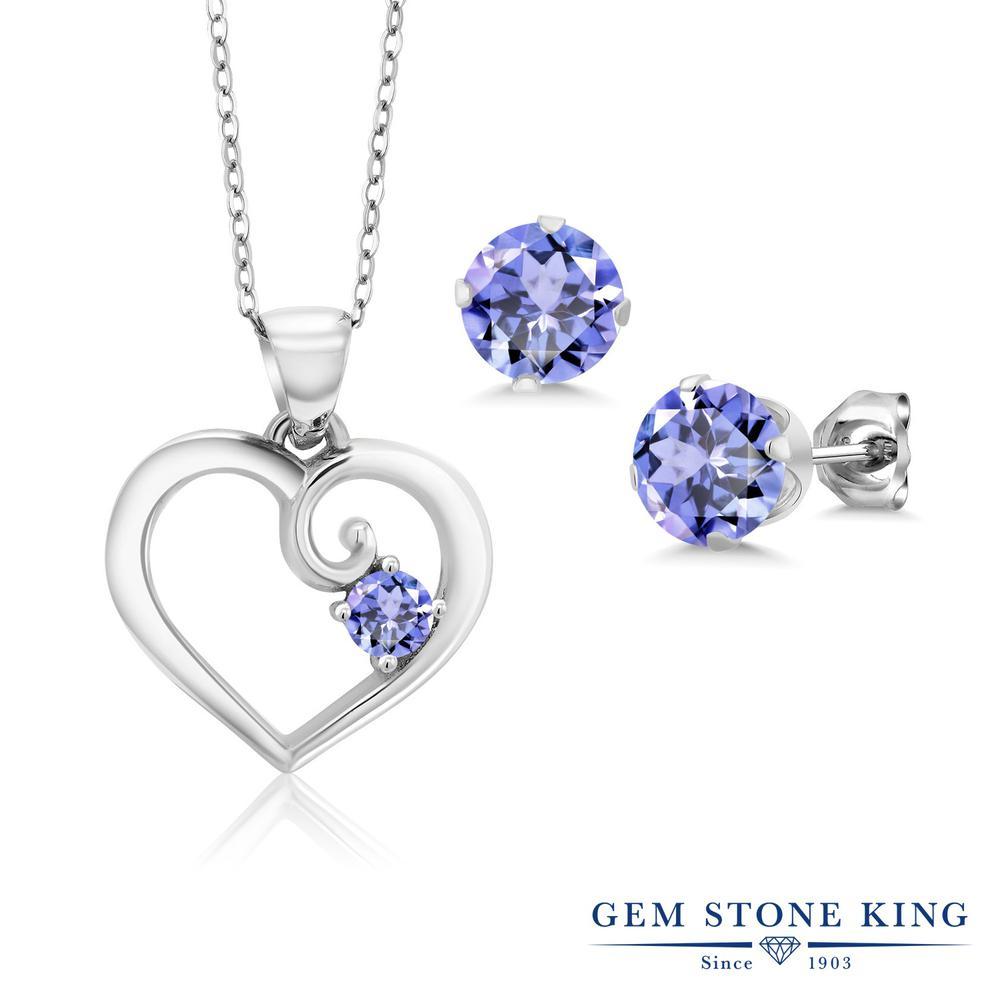 Gem Stone King 1.98カラット 天然石 タンザナイト シルバー925 ペンダント&ピアスセット レディース 小粒 シンプル 天然石 12月 誕生石 金属アレルギー対応 誕生日プレゼント