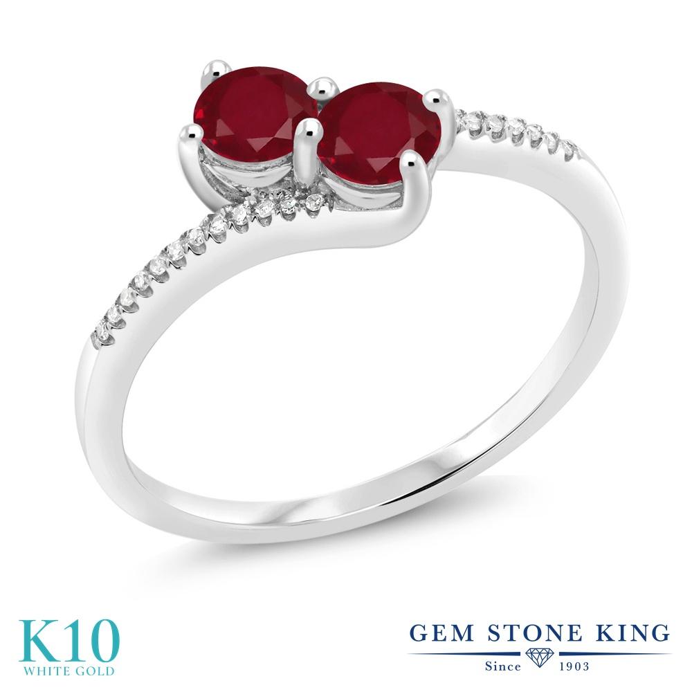 Gem Stone King 0.77カラット 天然 ルビー 天然 ダイヤモンド 10金 ホワイトゴールド(K10) 指輪 リング レディース 小粒 ダブルストーン 天然石 7月 誕生石 金属アレルギー対応 誕生日プレゼント