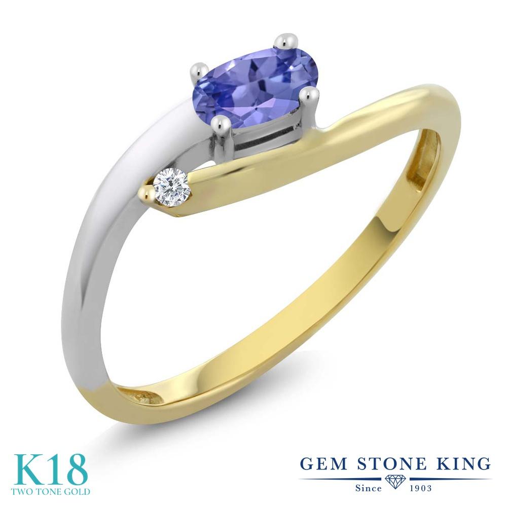 Gem Stone King 0.25カラット 天然石 タンザナイト 天然 ダイヤモンド 18金 Two Toneゴールド(K18) 指輪 リング レディース 小粒 シンプル ソリティア 華奢 細身 天然石 12月 誕生石 金属アレルギー対応 誕生日プレゼント