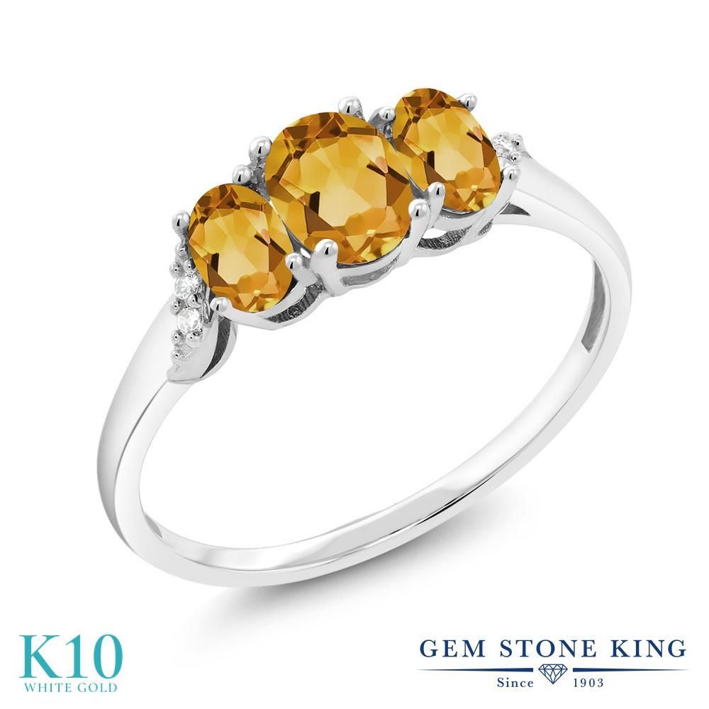 Gem Stone King 0.83カラット 天然 シトリン 天然 ダイヤモンド 10金 ホワイトゴールド(K10) 指輪 リング レディース 小粒 スリーストーン 天然石 11月 誕生石 金属アレルギー対応 誕生日プレゼント