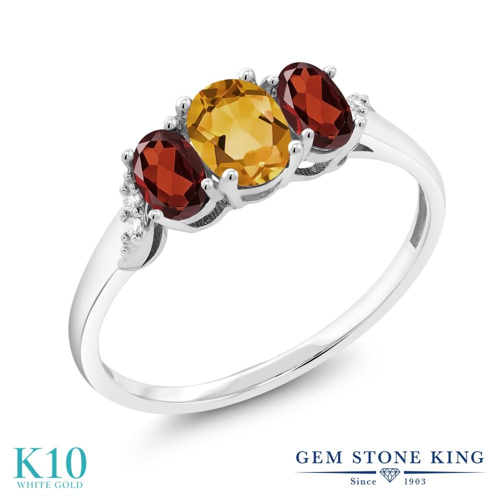 Gem Stone King 1.03カラット 天然 シトリン 天然 ガーネット 天然 ダイヤモンド 10金 ホワイトゴールド(K10) 指輪 リング レディース 小粒 スリーストーン 天然石 11月 誕生石 金属アレルギー対応 誕生日プレゼント