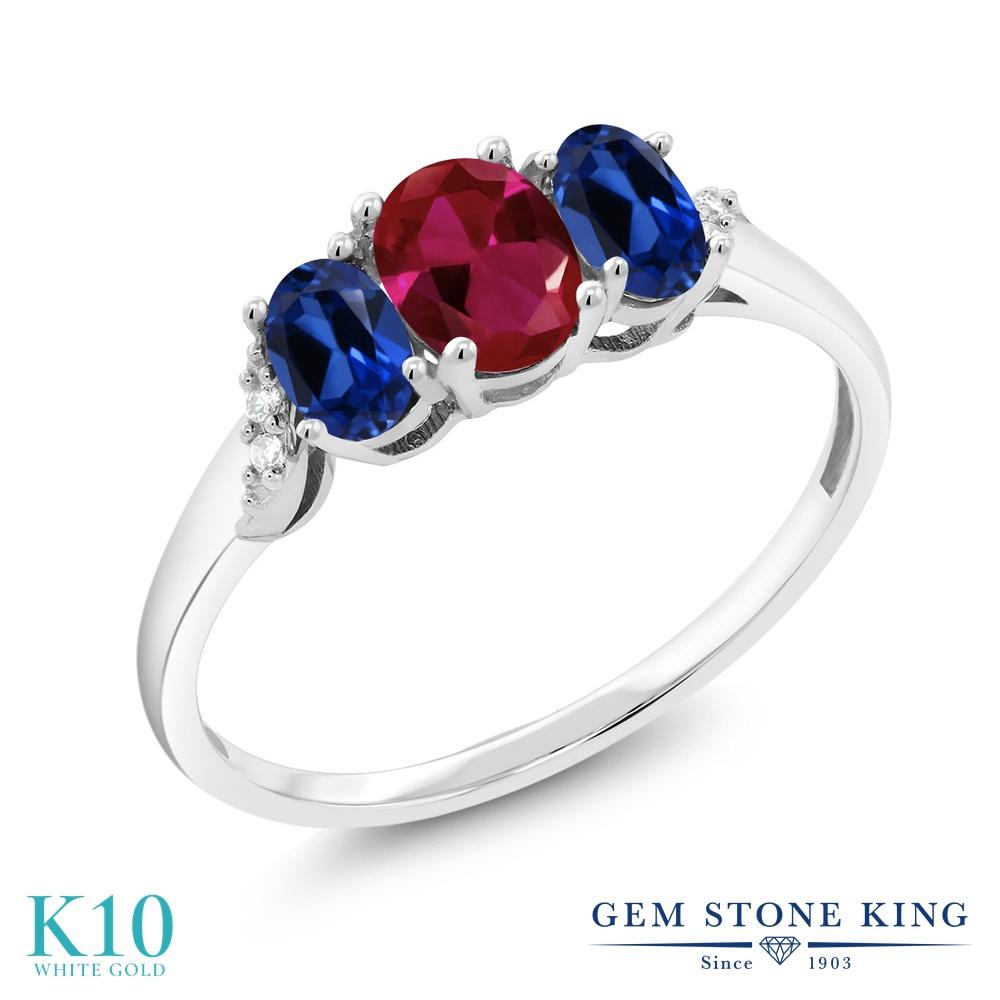 Gem Stone King 1.33カラット 合成ルビー シミュレイテッド サファイア 天然 ダイヤモンド 10金 ホワイトゴールド(K10) 指輪 リング レディース 小粒 スリーストーン 金属アレルギー対応 誕生日プレゼント