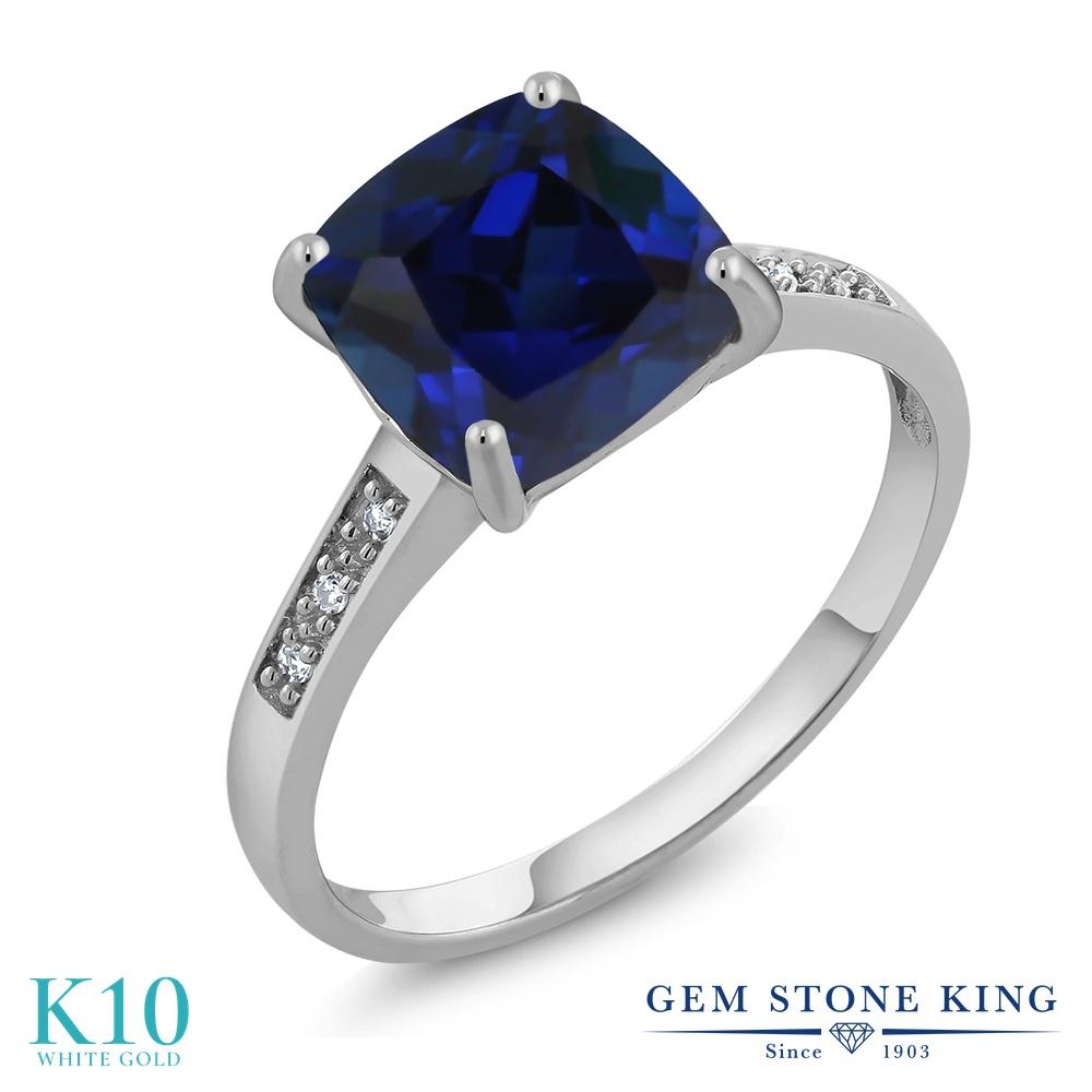 Gem Stone King 2.53カラット シミュレイテッド サファイア 天然 ダイヤモンド 10金 ホワイトゴールド(K10) 指輪 リング レディース 大粒 ソリティア 金属アレルギー対応 誕生日プレゼント