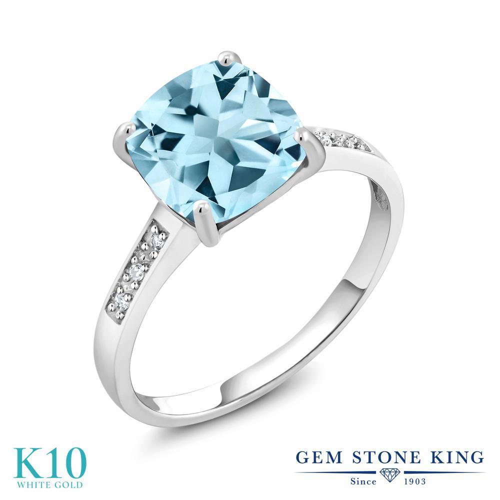 Gem Stone King 2.74カラット 天然 スカイブルートパーズ 天然 ダイヤモンド 10金 ホワイトゴールド(K10) 指輪 リング レディース 大粒 ソリティア 天然石 11月 誕生石 金属アレルギー対応 誕生日プレゼント