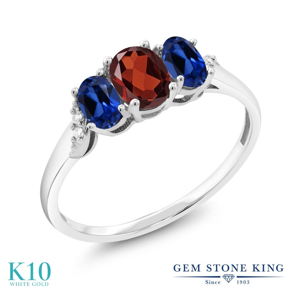 Gem Stone King 1.33カラット 天然 ガーネット シミュレイテッド サファイア 天然 ダイヤモンド 10金 ホワイトゴールド(K10) 指輪 リング レディース 小粒 スリーストーン 天然石 1月 誕生石 金属アレルギー対応 誕生日プレゼント