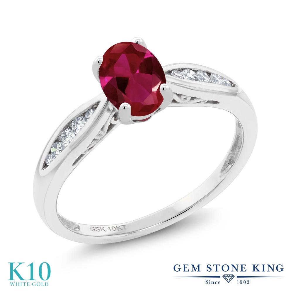 Gem Stone King 0.97カラット 合成ルビー 天然 ダイヤモンド 10金 ホワイトゴールド(K10) 指輪 リング レディース マルチストーン 金属アレルギー対応 婚約指輪 エンゲージリング