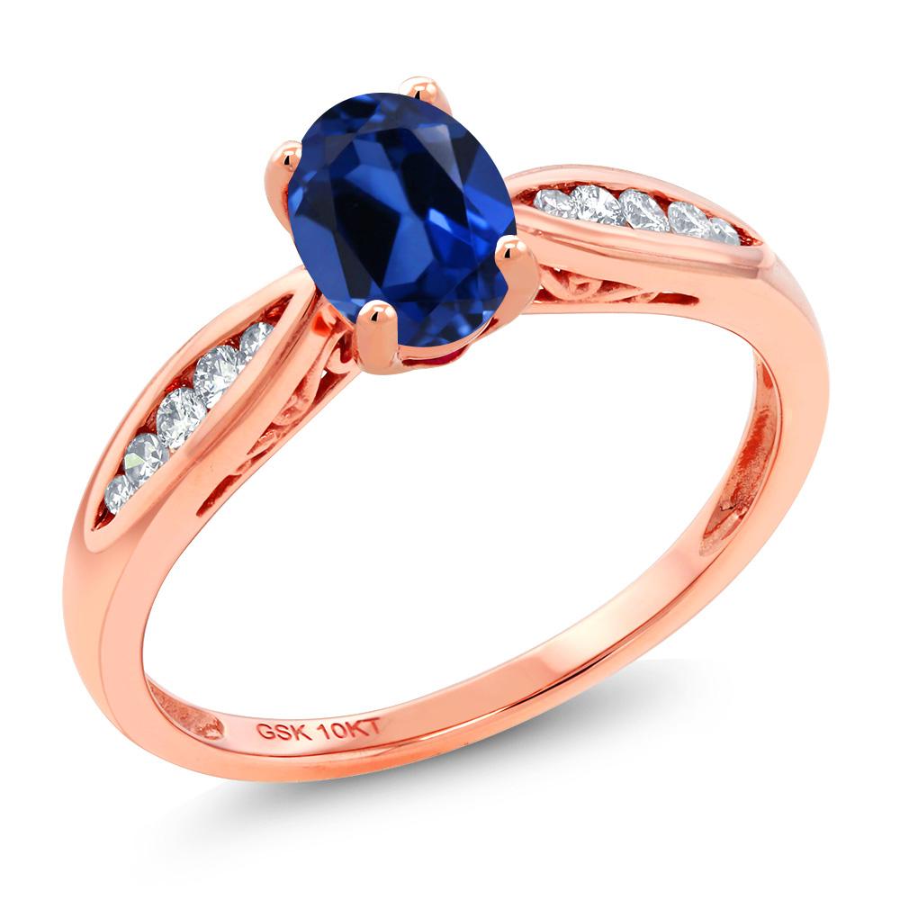 Gem Stone King 0.97カラット シミュレイテッド サファイア 天然 ダイヤモンド 10金 ピンクゴールド(K10) 指輪 リング レディース マルチストーン 金属アレルギー対応 婚約指輪 エンゲージリング