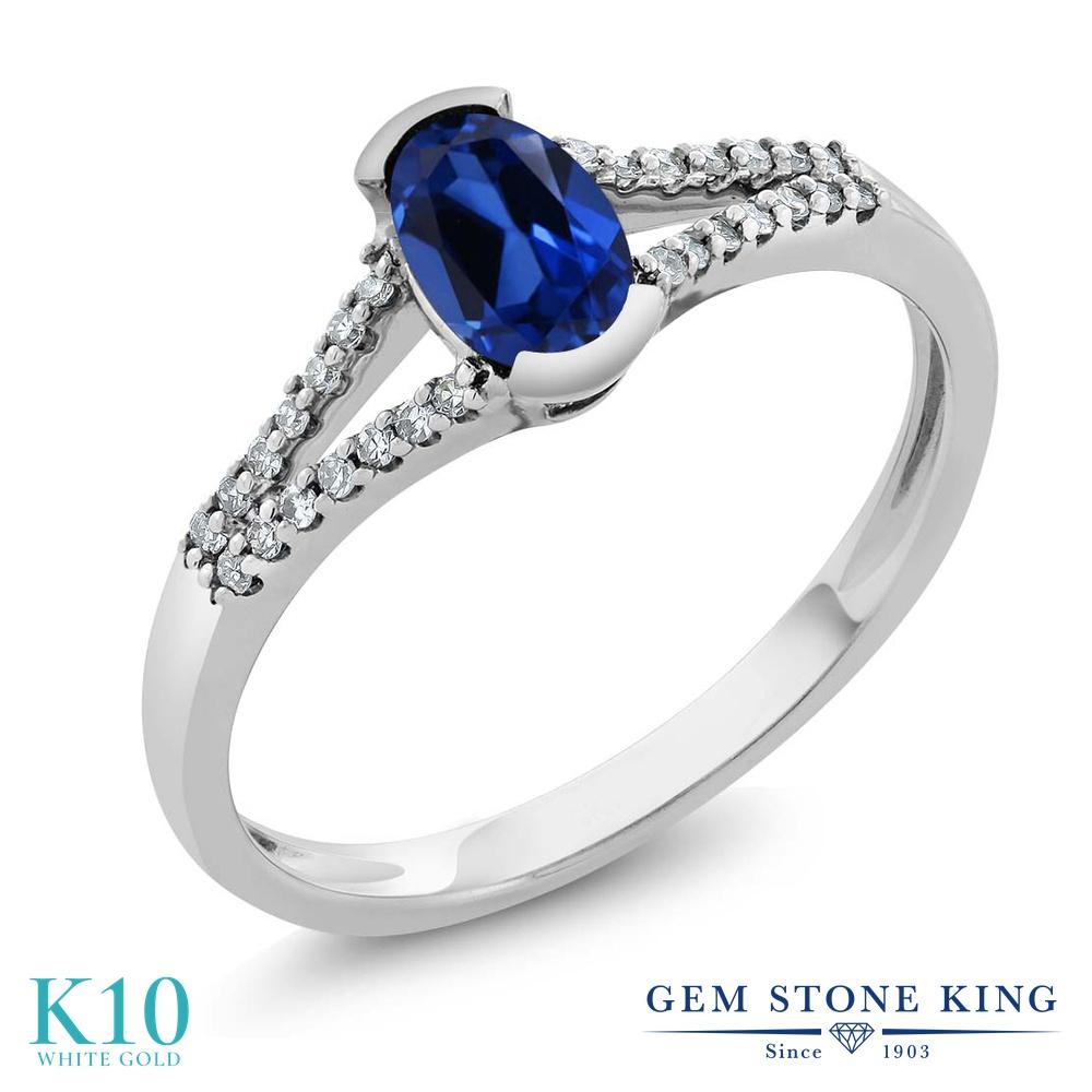 Gem Stone King 0.6カラット シミュレイテッド サファイア 天然 ダイヤモンド 10金 ホワイトゴールド(K10) 指輪 リング レディース 小粒 マルチストーン 金属アレルギー対応 誕生日プレゼント