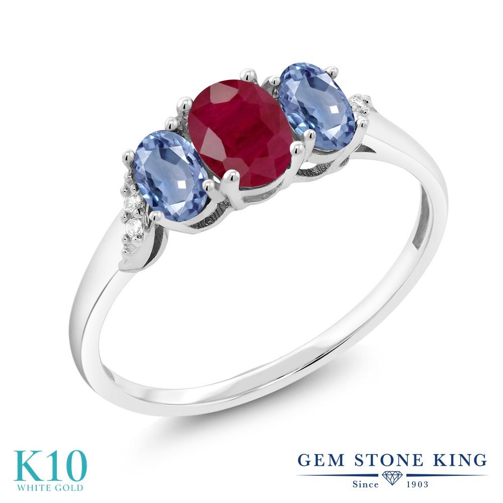 【10%OFF】 Gem Stone King 1.17カラット 天然 ルビー サファイア ダイヤモンド 指輪 リング レディース 10金 ホワイトゴールド K10 スリーストーン 天然石 7月 誕生石 クリスマスプレゼント 女性 彼女 妻 誕生日