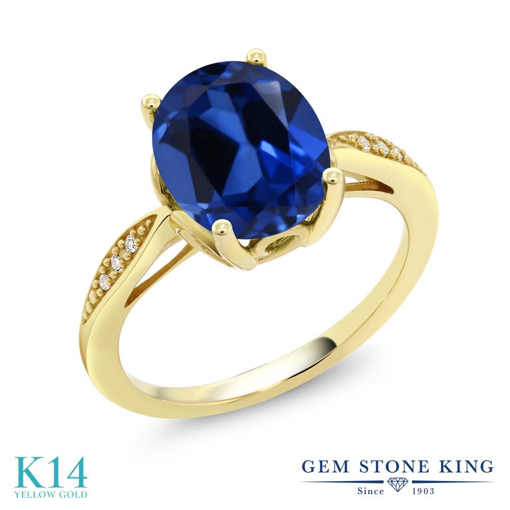 Gem Stone King 3.34カラット シミュレイテッド サファイア 天然 ダイヤモンド 14金 イエローゴールド(K14) 指輪 リング レディース 大粒 ソリティア 金属アレルギー対応 誕生日プレゼント