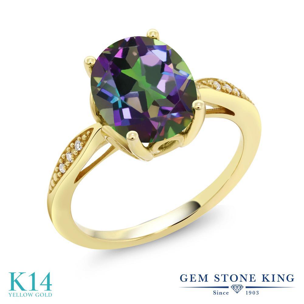 【10%OFF】 Gem Stone King 2.74カラット 天然石 ミスティッククォーツ (グリーン) 天然 ダイヤモンド 指輪 リング レディース 14金 イエローゴールド K14 大粒 ソリティア クリスマスプレゼント 女性 彼女 妻 誕生日