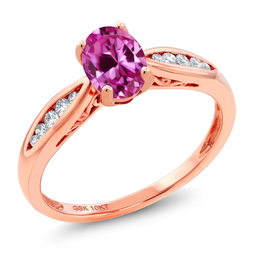 Gem Stone King 0.97カラット 合成ピンクサファイア 天然 ダイヤモンド 10金 ピンクゴールド(K10) 指輪 リング レディース マルチストーン 金属アレルギー対応 婚約指輪 エンゲージリング