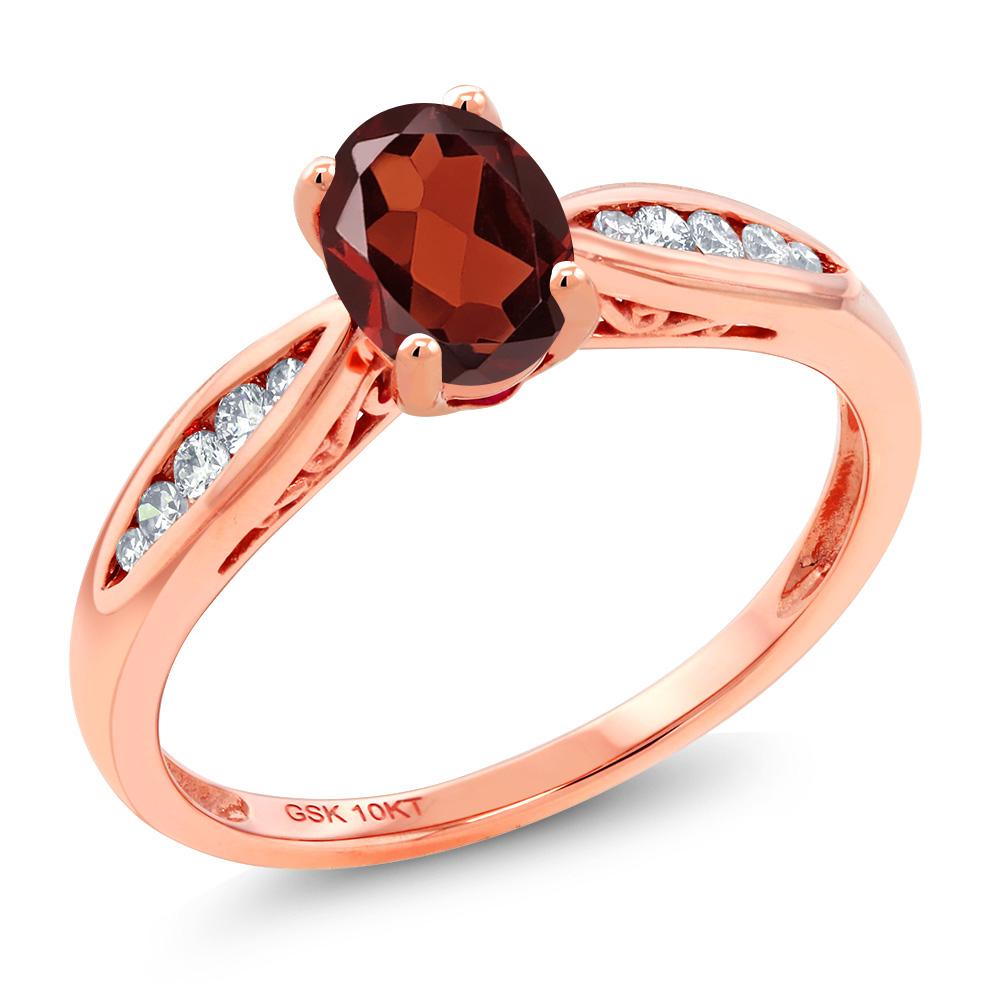 Gem Stone King 0.97カラット 天然 ガーネット 天然 ダイヤモンド 10金 ピンクゴールド(K10) 指輪 リング レディース マルチストーン 天然石 1月 誕生石 金属アレルギー対応 婚約指輪 エンゲージリング