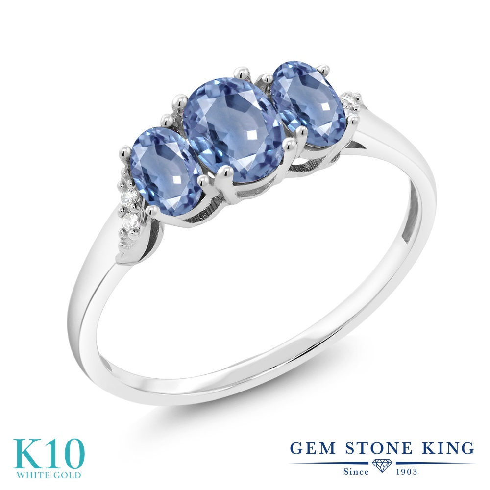 Gem Stone King 1.12カラット 天然 サファイア 天然 ダイヤモンド 10金 ホワイトゴールド(K10) 指輪 リング レディース スリーストーン 天然石 9月 誕生石 金属アレルギー対応 誕生日プレゼント