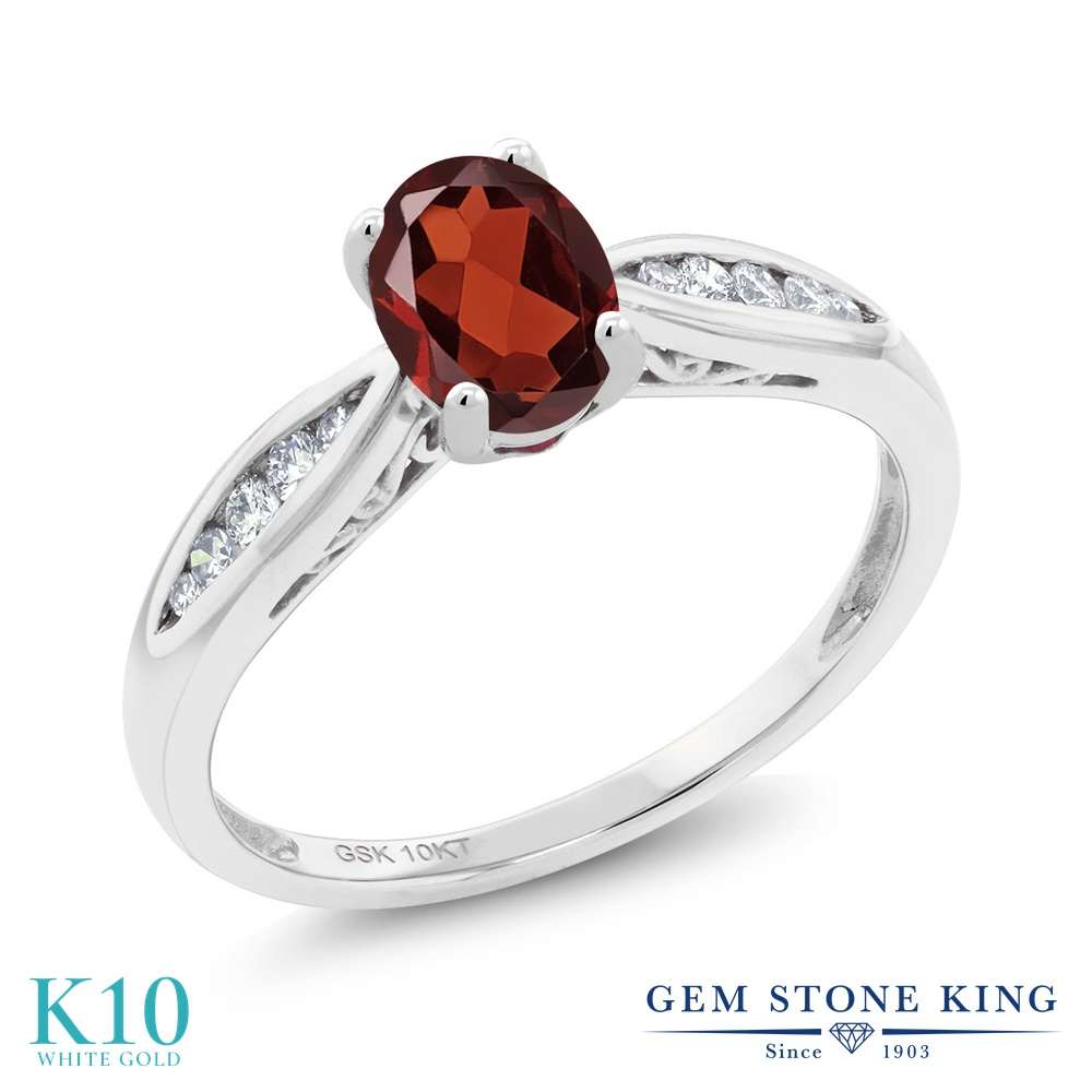 Gem Stone King 0.97カラット 天然 ガーネット 天然 ダイヤモンド 10金 ホワイトゴールド(K10) 指輪 リング レディース マルチストーン 天然石 1月 誕生石 金属アレルギー対応 婚約指輪 エンゲージリング