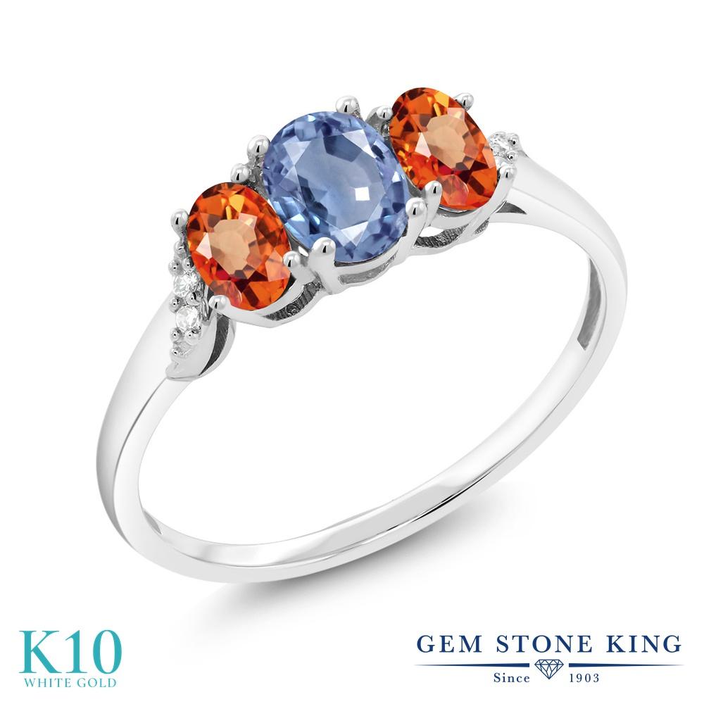 Gem Stone King 1.12カラット 天然 サファイア 天然 オレンジサファイア 天然 ダイヤモンド 10金 ホワイトゴールド(K10) 指輪 リング レディース スリーストーン 天然石 9月 誕生石 金属アレルギー対応 誕生日プレゼント