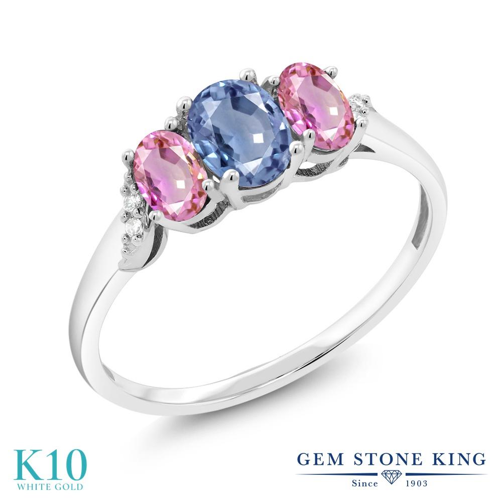 【10%OFF】 Gem Stone King 1.12カラット 天然 サファイア ピンクサファイア ダイヤモンド 指輪 リング レディース 10金 ホワイトゴールド K10 スリーストーン 天然石 9月 誕生石 クリスマスプレゼント 女性 彼女 妻 誕生日
