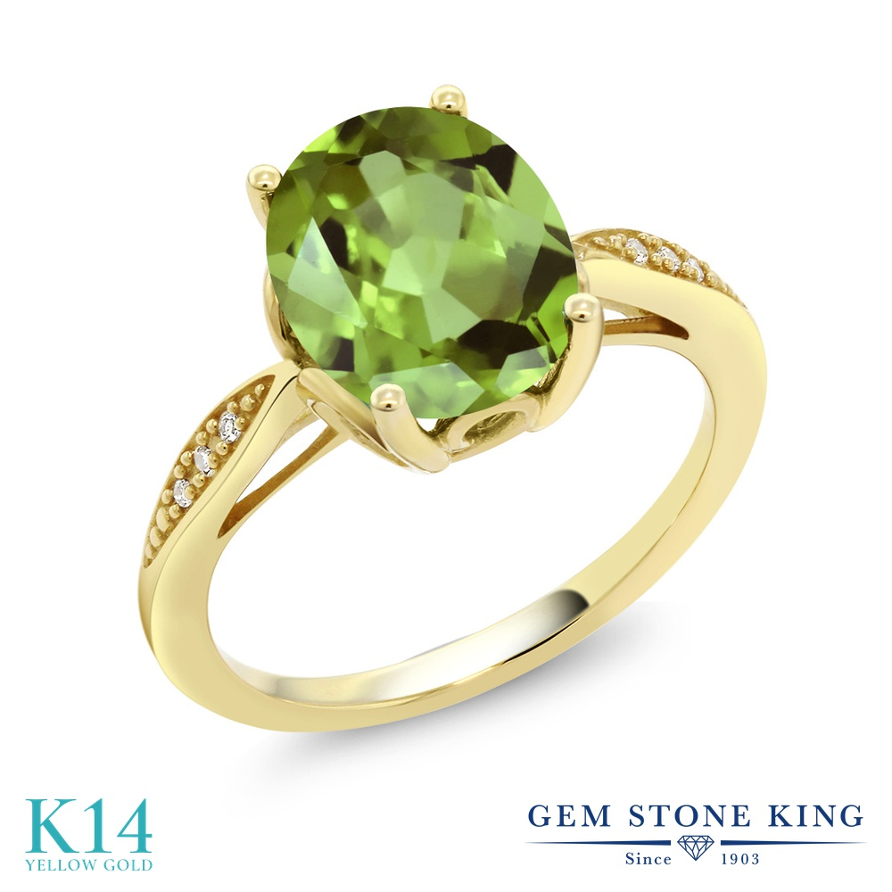 Gem Stone King 3.04カラット 天然石ペリドット 14金 イエローゴールド(K14) 天然ダイヤモンド 指輪 リング レディース 大粒 ソリティア 天然石 誕生石 金属アレルギー対応 誕生日プレゼント