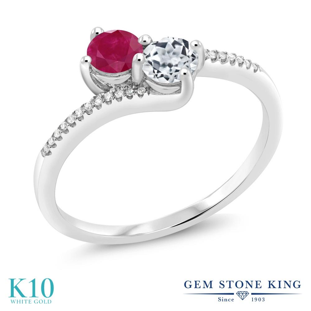 Gem Stone King 0.8カラット 天然 ルビー 天然 トパーズ (無色透明) 天然 ダイヤモンド 10金 ホワイトゴールド(K10) 指輪 リング レディース 小粒 ダブルストーン 天然石 7月 誕生石 金属アレルギー対応 誕生日プレゼント