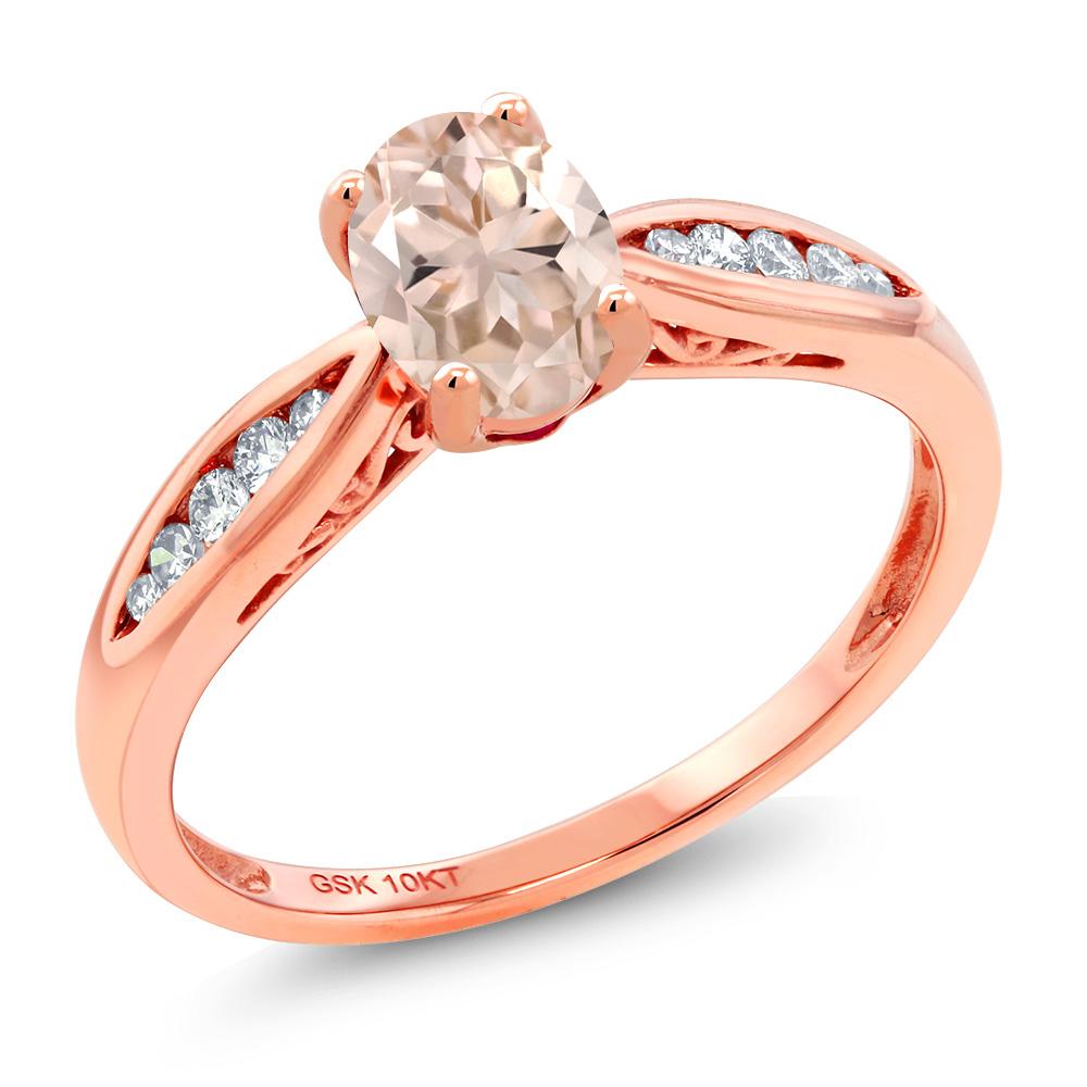 Gem Stone King 0.72カラット 天然 モルガナイト (ピーチ) 天然 ダイヤモンド 10金 ピンクゴールド(K10) 指輪 リング レディース マルチストーン 天然石 3月 誕生石 金属アレルギー対応 婚約指輪 エンゲージリング