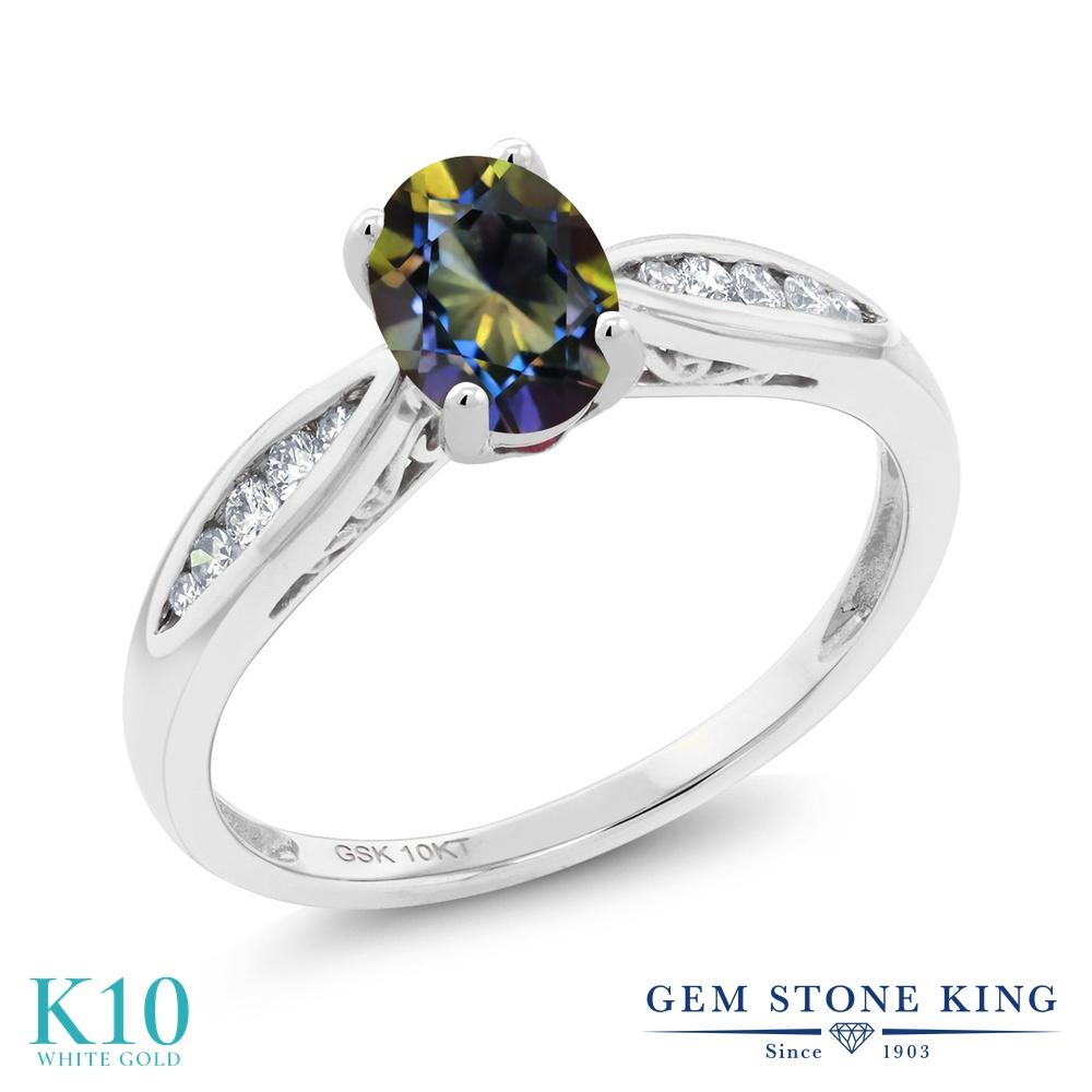 Gem Stone King 0.87カラット 天然石 ミスティックトパーズ (ブルー) 天然 ダイヤモンド 10金 ホワイトゴールド(K10) 指輪 リング レディース マルチストーン 天然石 金属アレルギー対応 婚約指輪 エンゲージリング